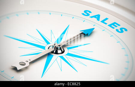 Compass with needle pointing the word sales, white and blue tones. Background image for illustration of sales goals - Stock Photo
