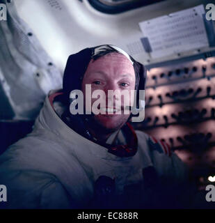Photograph of Astronaut Neil Armstrong during the Apollo 11 space mission. Dated 1969 - Stock Photo