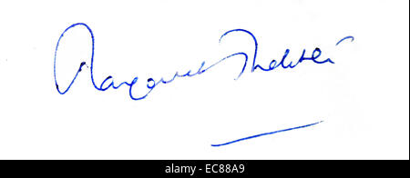 Signature of Margaret Thatcher (1925-2013) Prime Minister of the United Kingdom and leader of the Conservative Party. - Stock Photo