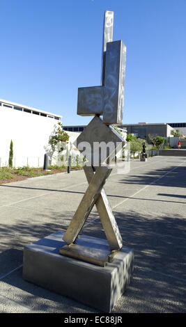 Stainless steel sculpture titled 'Cubi VI'. Created by David Smith (1906-1965) American sculptor. Dated 1963 - Stock Photo