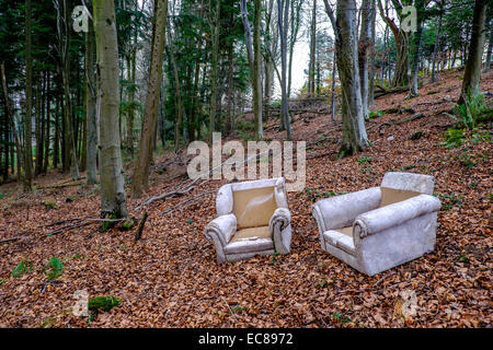 FLY TIPPED FURNITURE IN WOODLAND GLOUCESTERSHIRE ENGLAND UK IN AN AREA OF OUTSTANDING NATURAL BEAUTY, THE WYE VALLEY. - Stock Photo