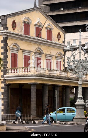 Mauritius, Port Louis, Jules Koenig Street, 1822 façade of colonial era Theatre and Opera House - Stock Photo