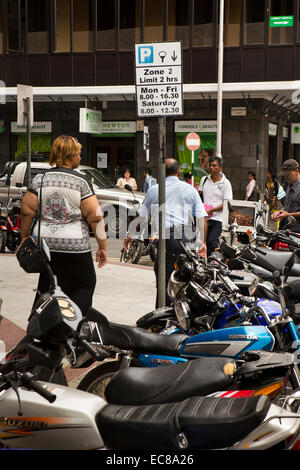 Mauritius, Port Louis, Royal, Road, motorbikes parked in 2 hr limit zone - Stock Photo