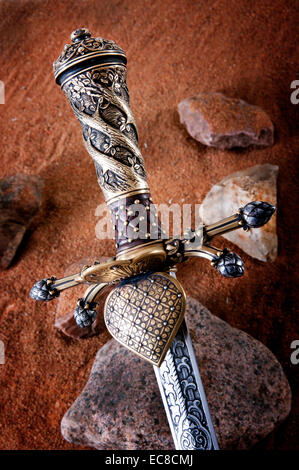 smart dagger of the medieval soldier. It was used for hunting - Stock Photo