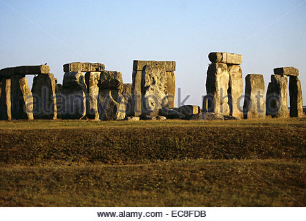 Stonehenge. This megalithic stone circle is on Salisbury Plain near Amesbury in Wiltshire, England. The alignment - Stock Photo