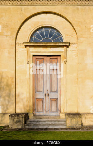 Georgian doorway with elegant fanlight at the old Radcliffe Observatory Green Templeton College Oxford University - Stock Photo