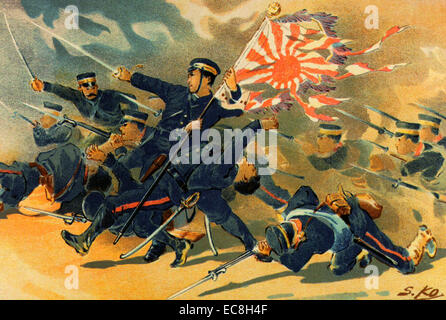 RUSSO-JAPANESE WAR 1904-1905. A Japanese print shows troops of the 1st Division of the Imperial Japanese Army at - Stock Photo
