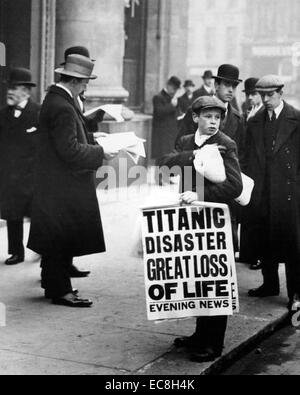 SINKING OF THE TITANIC  15 April 1912 as reported in the London Evening News - Stock Photo
