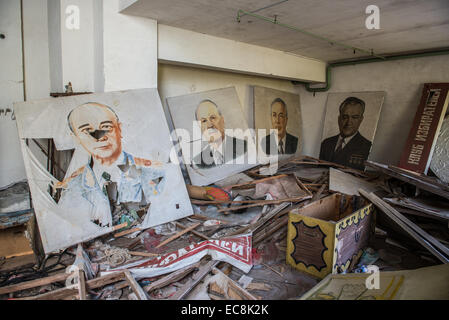 communist placards in Energetik Palace of Culture in Pripyat abandoned city, Chernobyl Exclusion Zone, Ukraine - Stock Photo