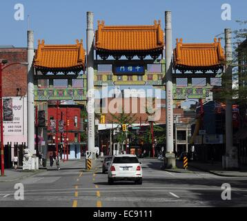 Entrance to China Town in Vancouver British Columbia - Stock Photo