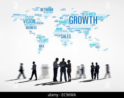 Group of Business People Different Activities Discussing Global Business Growth - Stock Photo