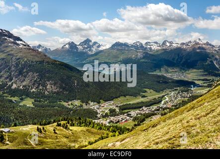 View from Muottas Muragl towards Pontresina, Engadine, Switzerland Blick vom Muottas Muragl auf Pontresina, Engadin, - Stock Photo
