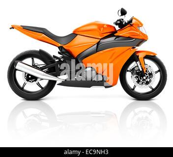3D Image of an Orange Modern Motorbike - Stock Photo