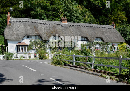 Thatched and whitewashed cottage in village of Wherwell in Hampshire. England - Stock Photo
