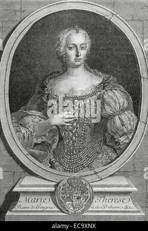 Maria Theresa (1717-1780), Archduchess of Austria, Queen of Hungary and Bohemia. Portrait. Engraving by de Petit, - Stock Photo