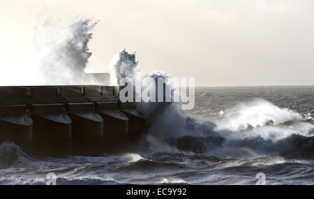 Huge waves crash over Brighton Marina wall Sussex winter storms weather bomb UK - Stock Photo