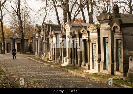 Graves in the Père Lachaise Cemetery, Paris, France - Stock Photo