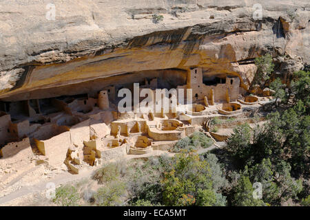 Cliff Palace, cliff dwellings of the Anasazi, Mesa Verde National Park, Colorado, United States - Stock Photo