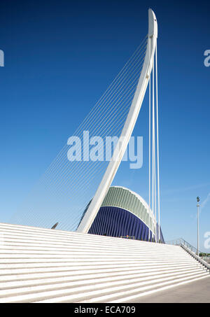 Modern bridge Puente del Grao and Agora square, Ciudad de las Artes y las Ciencias, Valencia, Spain - Stock Photo