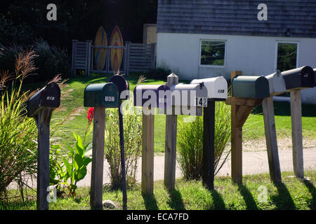 row of mailboxes in Montauk long island - Stock Photo