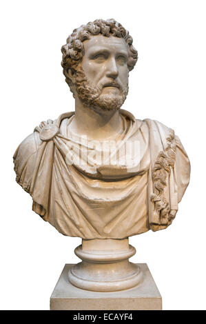 This marble bust of the emperor Antoninus Pius (AD 138-161) comes from the house of Jason Magnus at Cyrene in North - Stock Photo