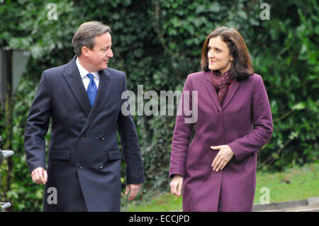 Belfast, Northern Ireland, UK. 11th December, 2014. Prime Minister David Cameron arrives with Northern Ireland Secretary - Stock Photo
