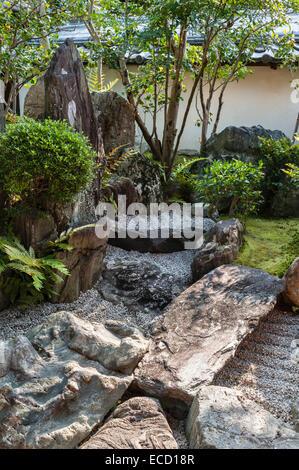 Daisen-in zen temple, Daitoku-ji, Kyoto, Japan. A corner of the hojo garden - Stock Photo