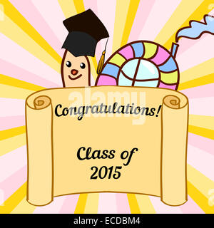 greeting card with a character and congratulations graduate stock