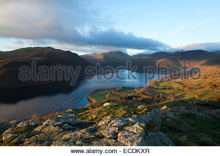 Ullswater from Gowbarrow Fell in the English Lake District - Stock Photo