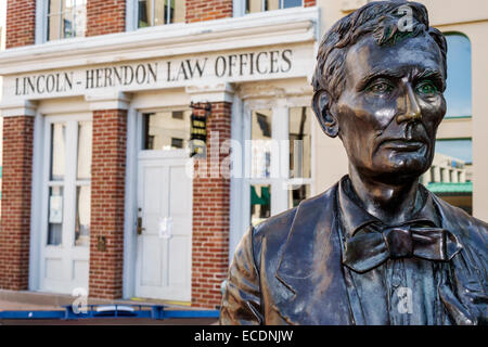 Springfield Illinois downtown historic buildings Old State Capitol Plaza Abraham Lincoln-Herndon Law Offices statue - Stock Photo