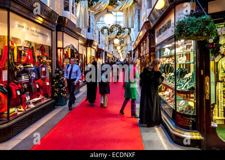 Christmas Shopping, Burlington Arcade, London, England - Stock Photo