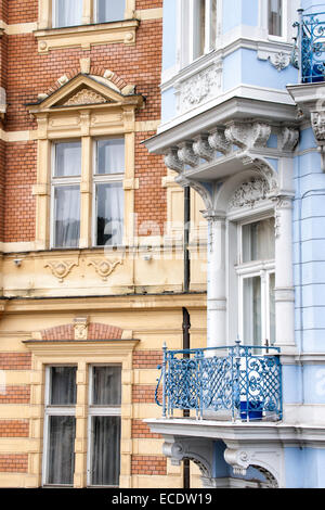 Architectural detail of buildings in this Bohemian Spa town founded in 1358, Karlovy Vary (Karlsbad), Czech Republic - Stock Photo