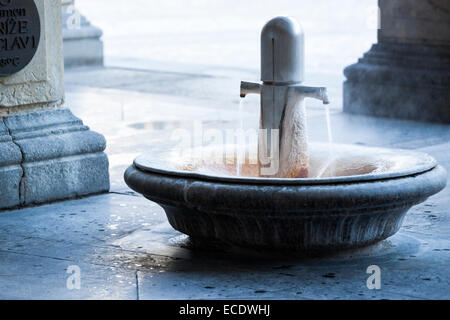 Thermal spring water for drinking at Mill Spring Colonnade,  Karlovy Vary (Karlsbad), Czech Republic - Stock Photo