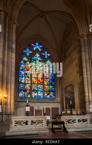 Glass window painted by Alfons Mucha in Art Nouveau style, St. Vitus's Cathedral, Prazsky Hrad Castle district, - Stock Photo