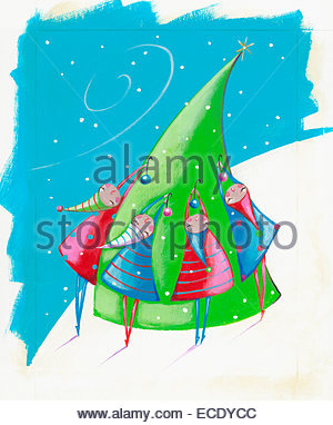 Children hanging ornaments on Christmas tree outdoors - Stock Photo