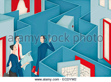 Couple discussing investment plan with financial adviser in maze hiding safe - Stock Photo