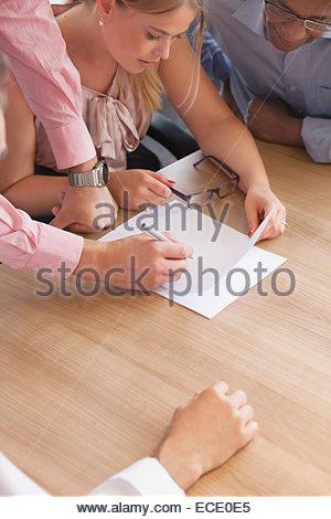 Desk team men woman meeting Cooperation concept - Stock Photo