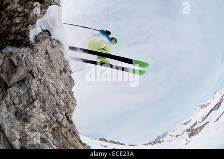 Man skiing downhill, Santa Cristina, Valgardena, Alto Adige, Italy - Stock Photo