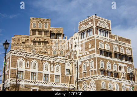 Traditional old houses in the old city of Sana'a, UNESCO World Heritage Site, Sana'a, Yemen - Stock Photo