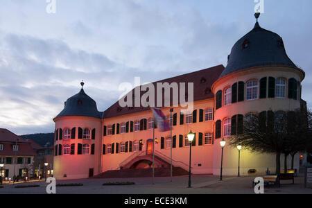 Bergzabern Palace, pink illuminated, 'Pink Lights' during the Pink weeks, Bad Bergzabern, Southern Wine Route, German - Stock Photo