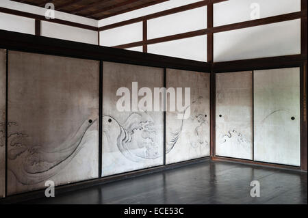 Ryogen-in Temple, Daitoku-ji, Kyoto, Japan. One of the interior reception rooms with sliding partitions (fusuma) - Stock Photo