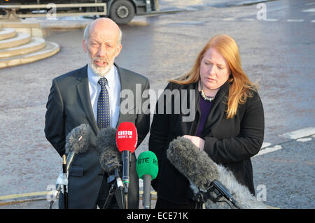 Belfast, Northern Ireland, 12 Dec 2014 - Justice Minister David Ford and Naomi Long MP from the Alliance Party give - Stock Photo