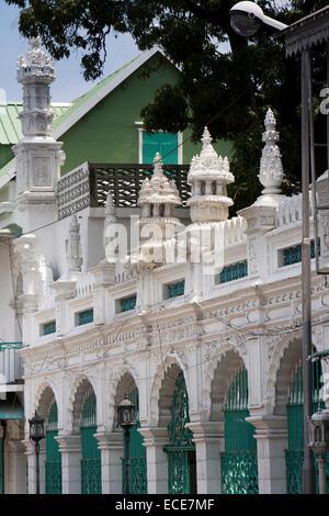 Mauritius, Port Louis, Rue Royale, Jummah Mosque architectural detail - Stock Photo