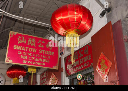 Mauritius, Port Louis, Chinatown, Rue Royale, Swatow Store shop sign in Chinese characters - Stock Photo