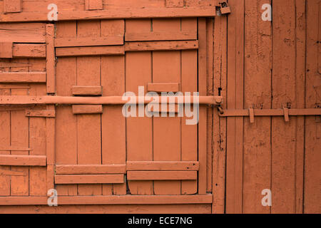 Mauritius, Port Louis, Rue Royale brown painted wooden door of lock-up shop - Stock Photo