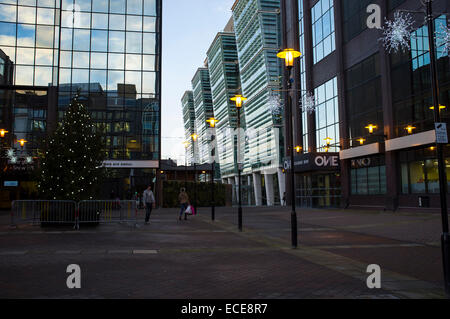 Merry Christmas at Colmore business and financial district, Snowhill train station - Stock Photo