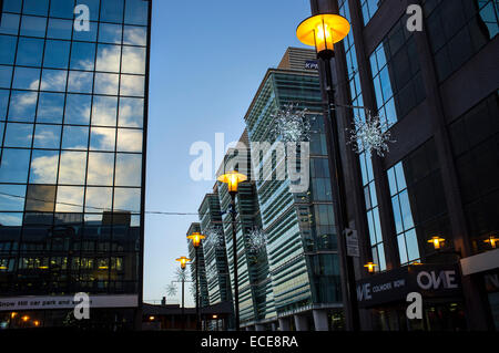 Merry Christmas at Colmore Business District, Snowhill train station - Stock Photo