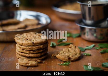 Baked savory crackers - Stock Photo