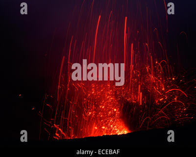 Mt Yasur Volcano on Tanna Island, Vanuatu. View of erupting crater at night. - Stock Photo