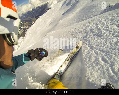 Austria, Salzburg, Gastein, Downhill skiing - Stock Photo